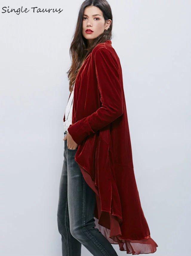 Gabardina elegante de terciopelo con volantes de gasa para mujer, chaqueta de terciopelo con cola de Milano a la moda para mujer