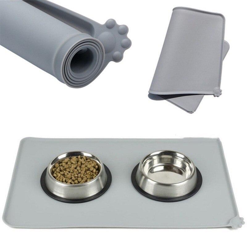 Tapete impermeable para mascotas para perro gato esterilla para comida de Mascota de silicona de color sólido cuenco para mascotas almohadilla de agua para perros alfombra de alimentación fácil de limpiar