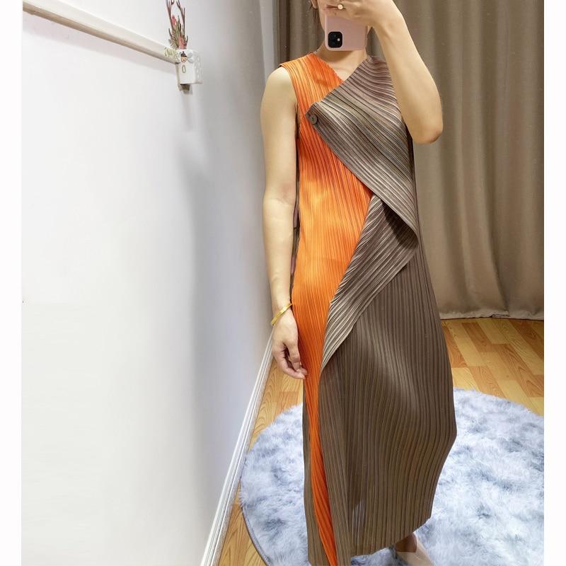 Женское длинное плиссированное платье Miyak, облегающее эластичное платье на одной пуговице, без рукавов, D00