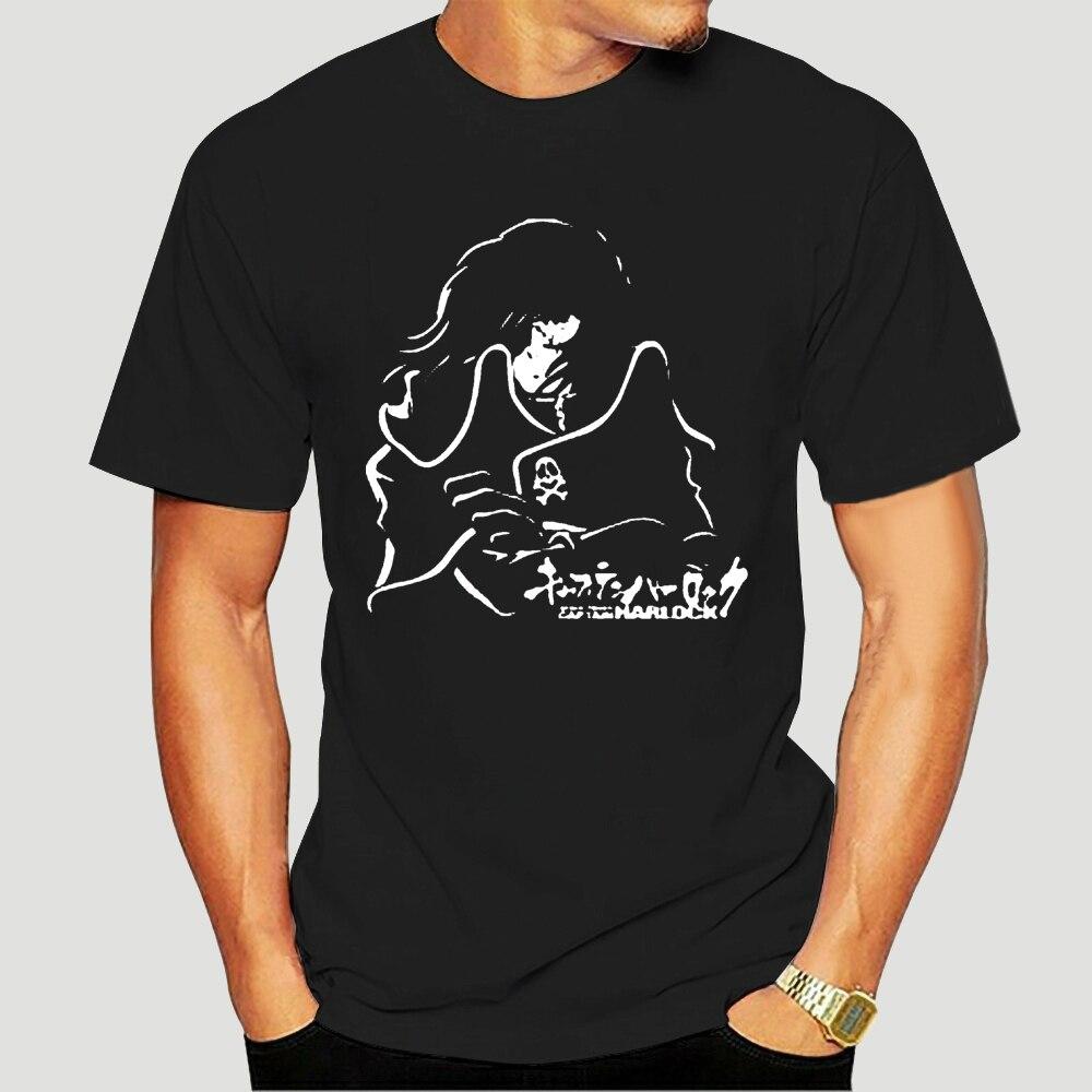 Nuevo clásico Retro Anime Space pirata capitán Harlock Herlock Jolly Roger verano marca adultos Casual Fitness T-Shirts-1821A