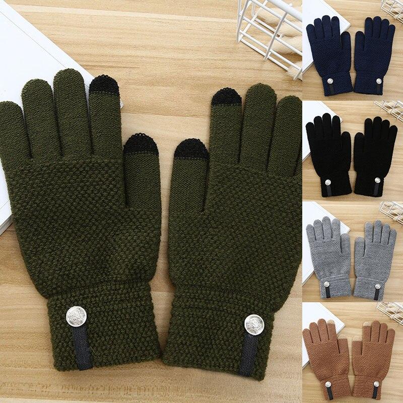 Уличные спортивные перчатки, кашемировые вязаные зимние мужские кашемировые вязаные перчатки, теплые мужские теплые перчатки для сенсорно...