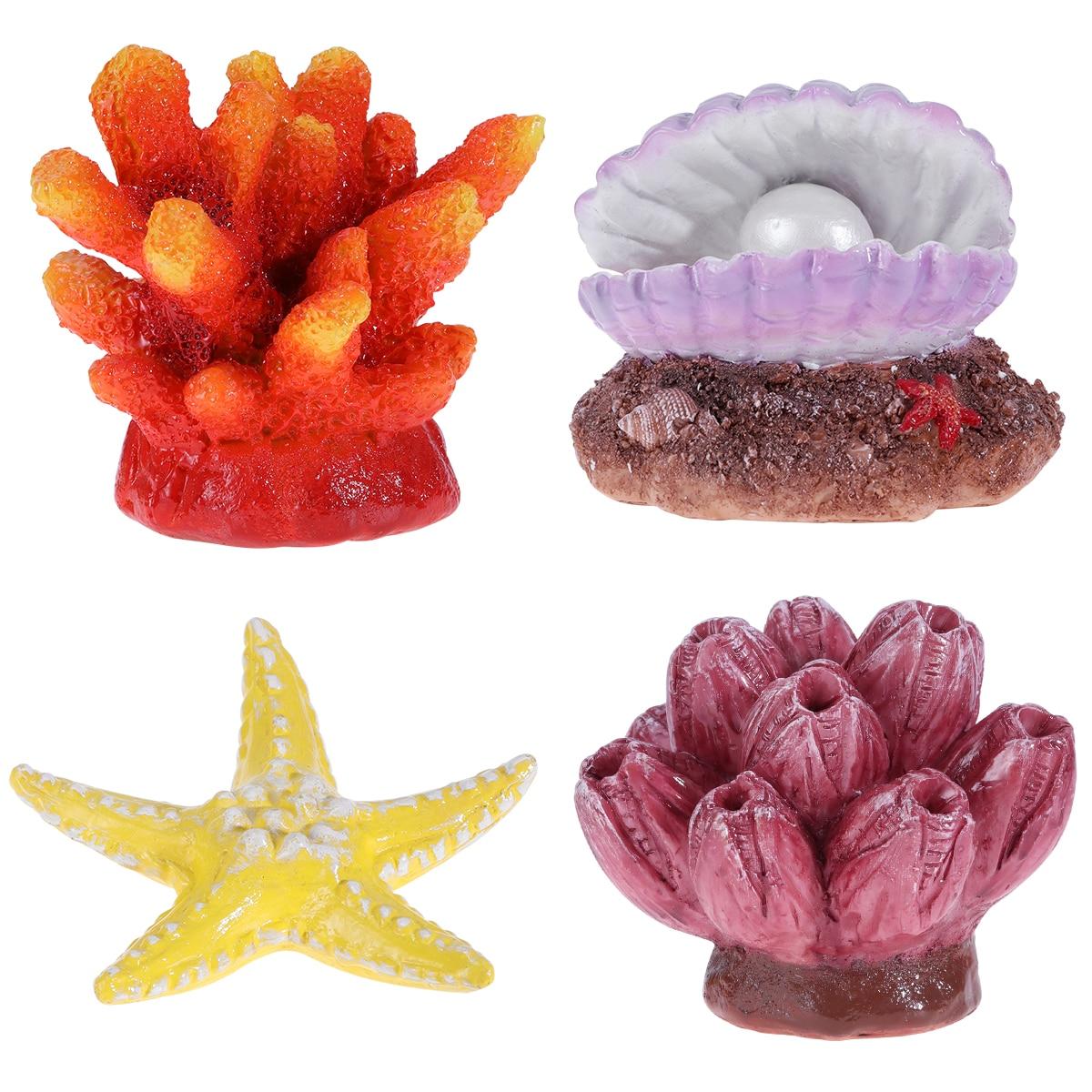 4 unidades de decoración de acuario UEETEK, estrella Artificial de mar, falso ornamento de escondite de Coral para decoración de peceras