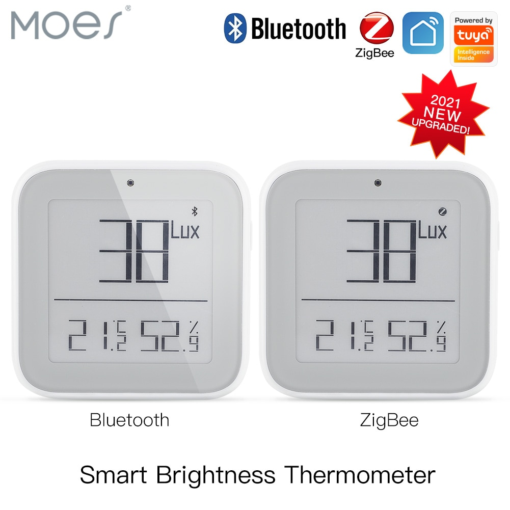 Moes الذكية زيجبي بلوتوث شبكة سطوع ميزان الحرارة ضوء مستشعر درجة الحرارة والرطوبة كاشف تويا الذكية App اليكسا التحكم