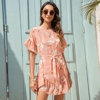 akbsun 2021 elegant temperament summer new product womens round neck fashion lady floral lotus leaf simple one piece dress