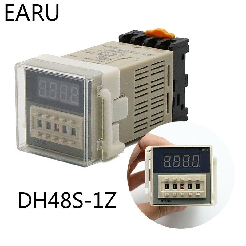 Цифровой светодиодный программируемый таймер, реле времени DH48S 0,01 с-99H99M din-рейка AC110V 220V DC 12V 24V с гнездом