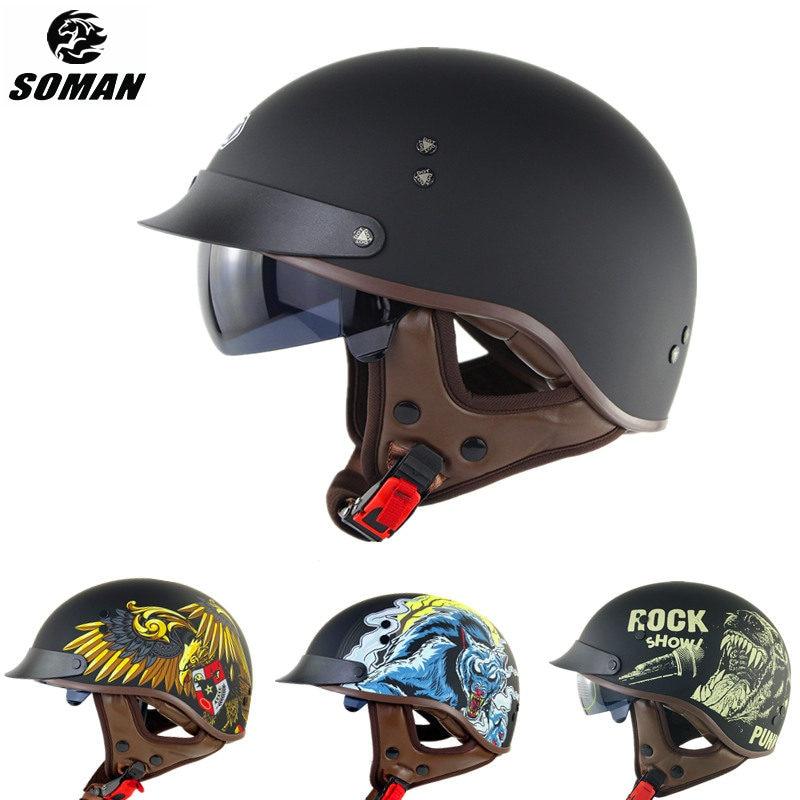 Casco De punto impreso para Moto De verano, casco De Moto Retro, casco De Moto Vintage