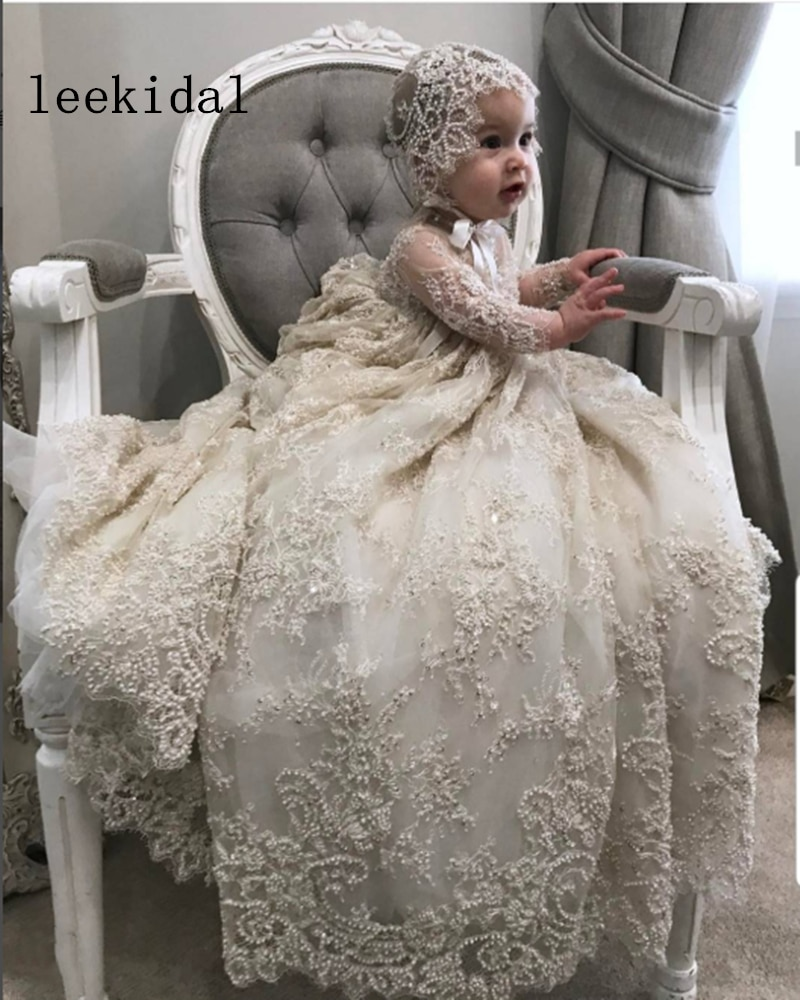 Luxury Pearl Christening Gown Vintage Lace Beading Baby Girls Baptism Dresses Toddler Infant Christening Dress With bonnet