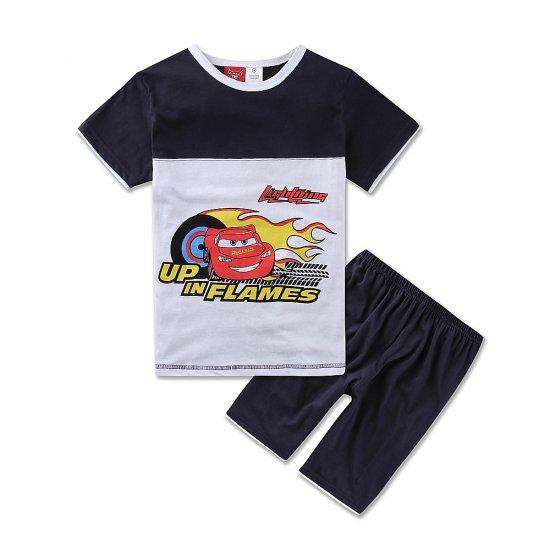 Nuevos conjuntos de verano exportación de Europa para niños, camiseta + Pantalones cortos, coches de dibujos animados de algodón para bebé para niños, tallas estadounidenses 2-6T