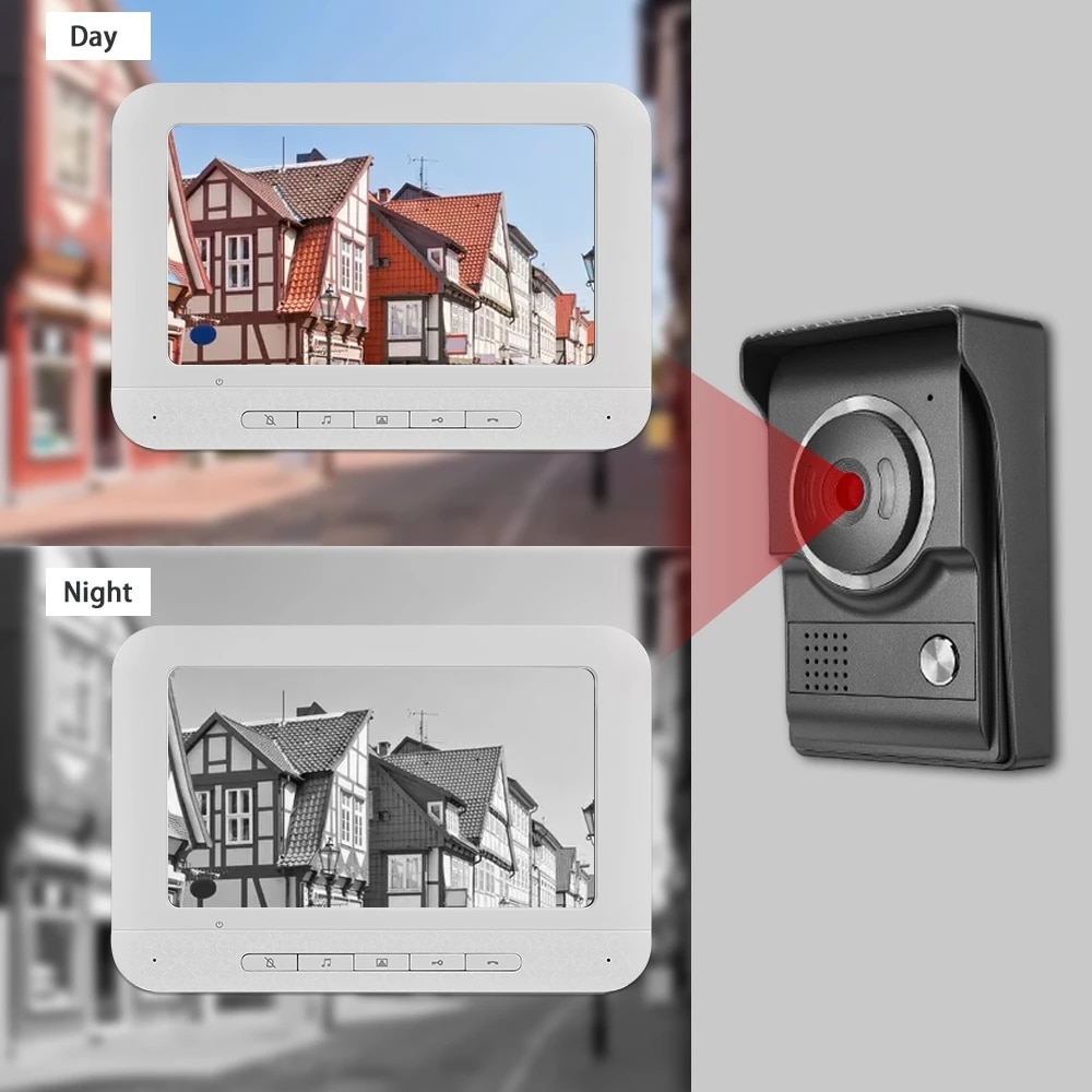 7 inch Monitor Doorbell Dual-way Intercom Wired Video Door Phone for Home Security System Support Electric Lock Connect enlarge