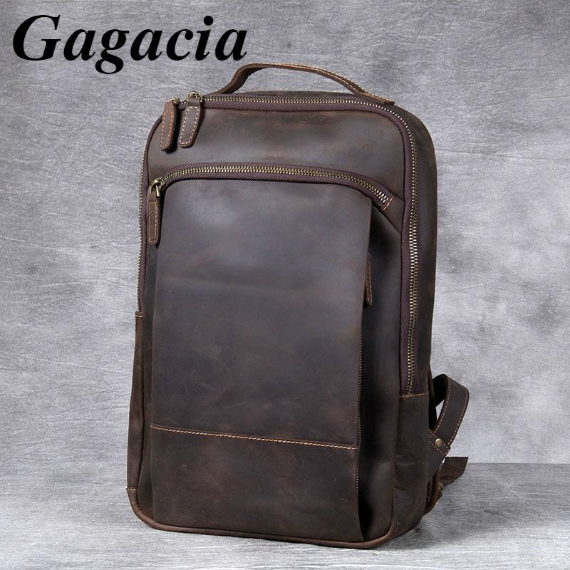 Gagacia Men's Vintage Luxury Genuine Leather Backpack Handmade Travel Backpacks Men's Crazy Horse Cowhide Laptop Bag For 15 Inch