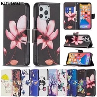 painted wallet phone case for iphone 13 12 mini 11 pro max etui full protect cover flip leather card solt kickstand funda shell