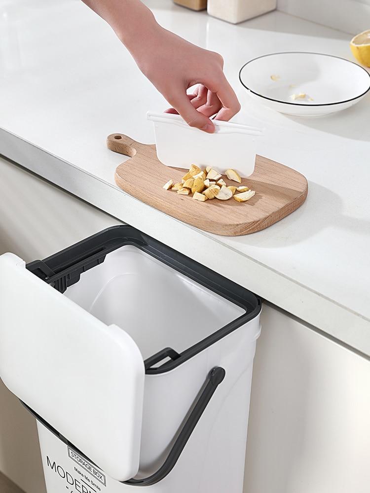 Recycling Bins Modern Trash Can Cover Kitchen Garbage Hanging Trash Can Kitchen Cabinet Door Rangement Cuisine Trashcan BK50LJ enlarge