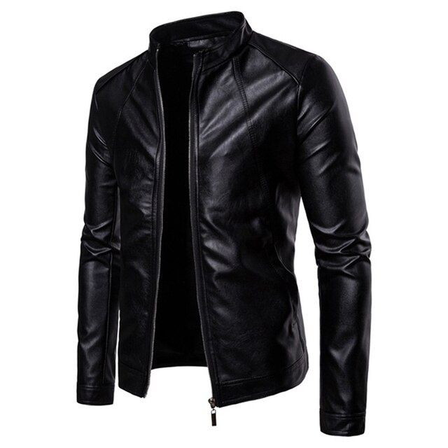 The New Spring And Autumn 2021 Men's Korean Version Slim-Fitting Stand-Up PU Leather Jacket Plus Size M-5XL 2
