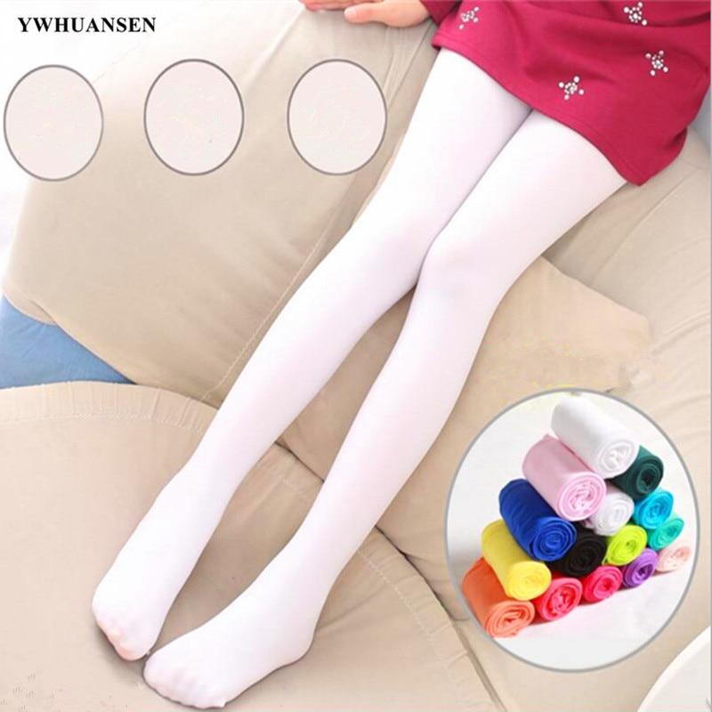 YWHUANSEN Summer Spring Candy Color Kids Pantyhose Ballet Dance Tights for Girls Stocking Children Velvet Solid White Pantyhose