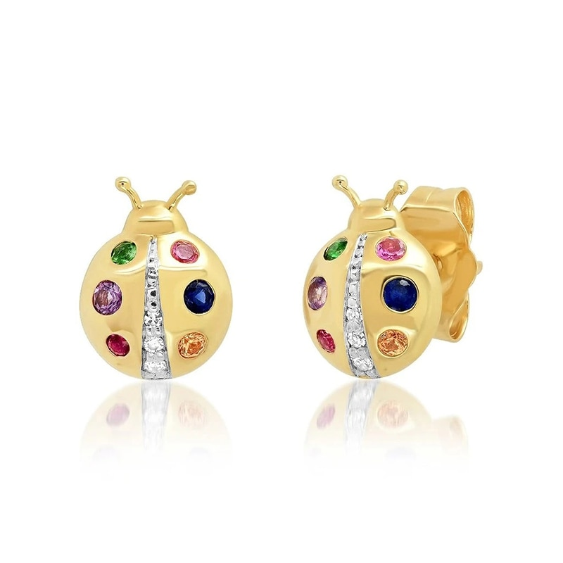 Silver 925 Jewelry Earrings For Women Color Ladybug Stud Earrings Gold/Silver Jewelry 2021 Trend Pie
