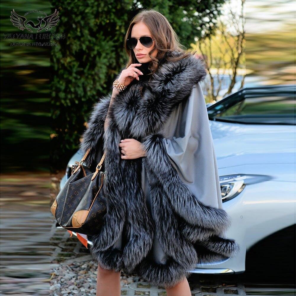 عباءة كشمير من فرو الثعلب الفضي الطبيعي للنساء ، شال من مزيج الصوف الشتوي الفاخر