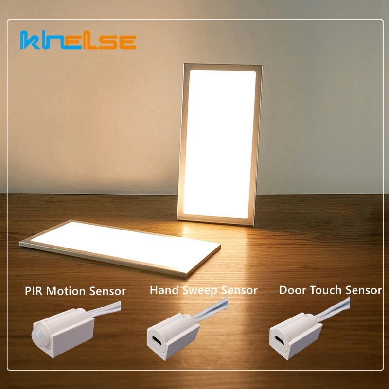 Ultra Thin LED Under Cabinet Light 12V 3W/5W Night Light Dimming PIR Motion Hand Sweep Door Touch Sensor Wardrobe Panel Lamp