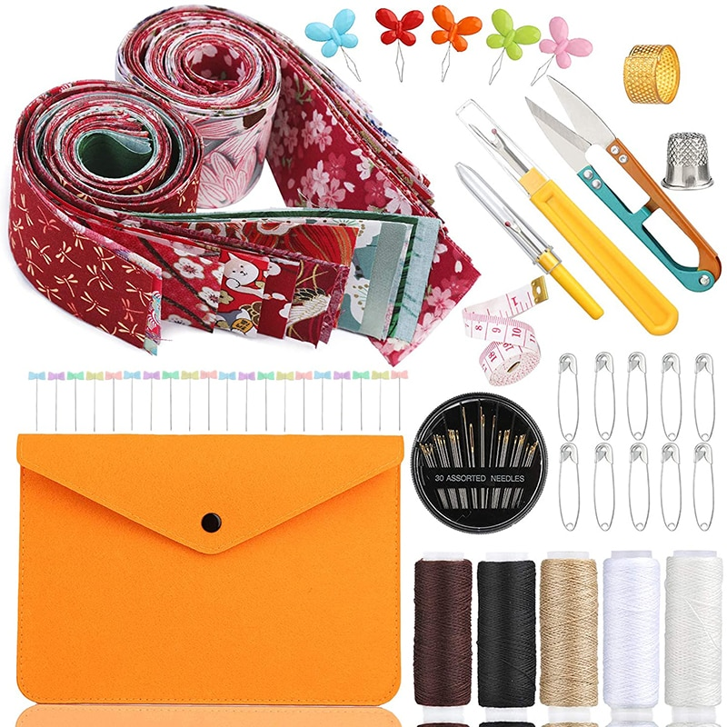 Dailylike Cotton Quilting Fabric Sewing Threads Kits Sewing Supplies With Storage Bag For DIY Scrapbooking Art Craft Supplies