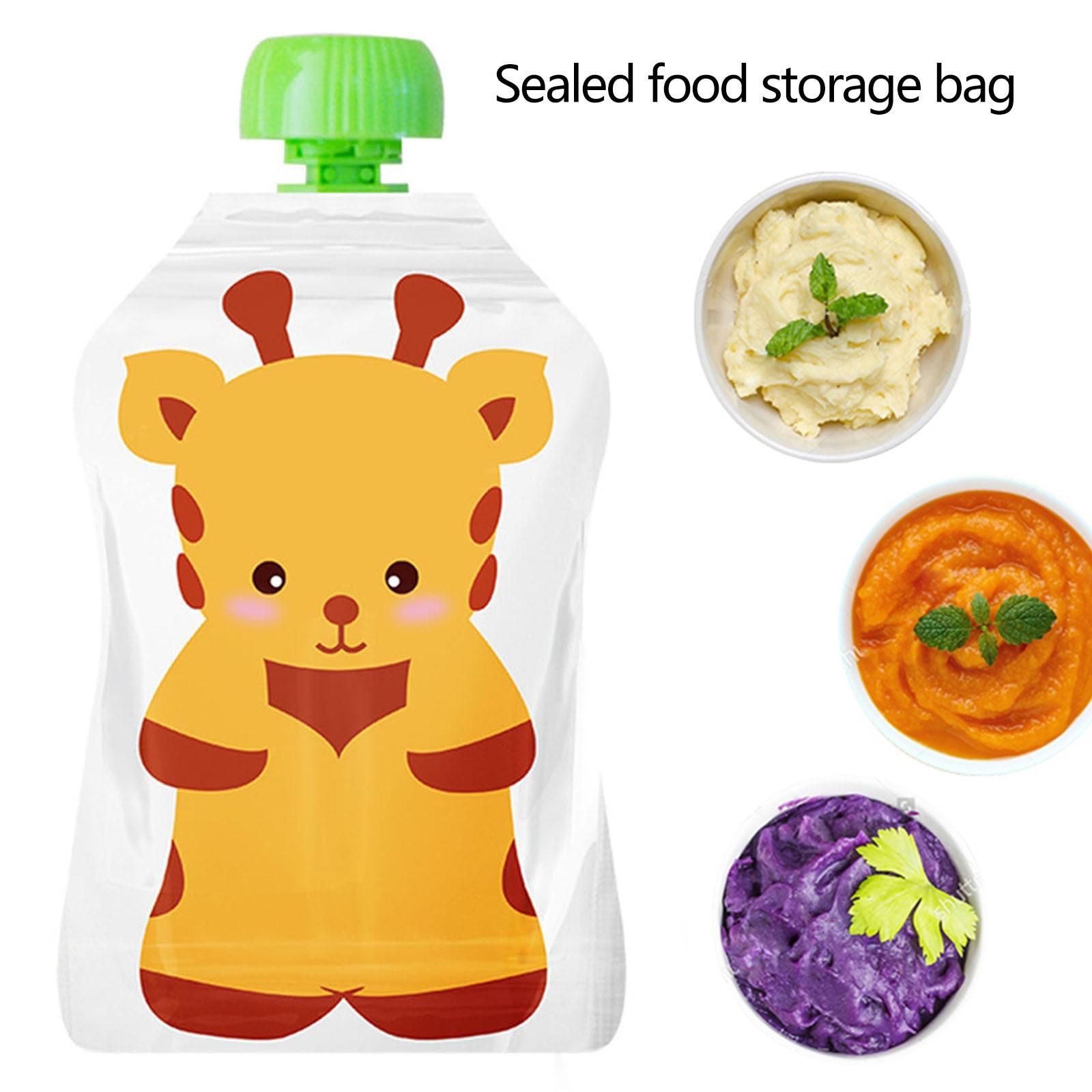 8pcs Reusable Food Storage Bag,Yogurt, Milk Food Pouches, Refillable Kids Toddlers Supplementary Food Squeeze Bottle Random
