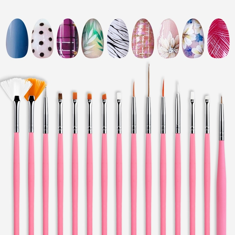 ROSALIND 8 Pcs/Kit Nail Brushes for Manicure Design Tool Set UV Gel Acrylic Brushes Liner Pen Nail Art Brush For Nails Design