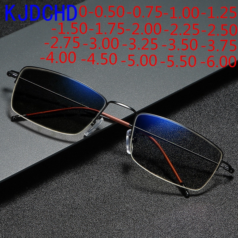 2021 New Titanium Alloy Business Sun Discoloration Myopia Glasses For Men And Women Finished Chamele