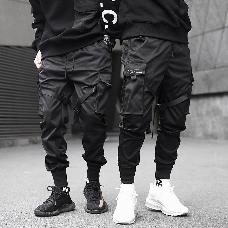 Men Cargo Pants Black Ribbons Block Multi-Pocket 2020 Harem Joggers Harajuku Sweatpant Hip Hop Casual Harem Tide Male Trousers