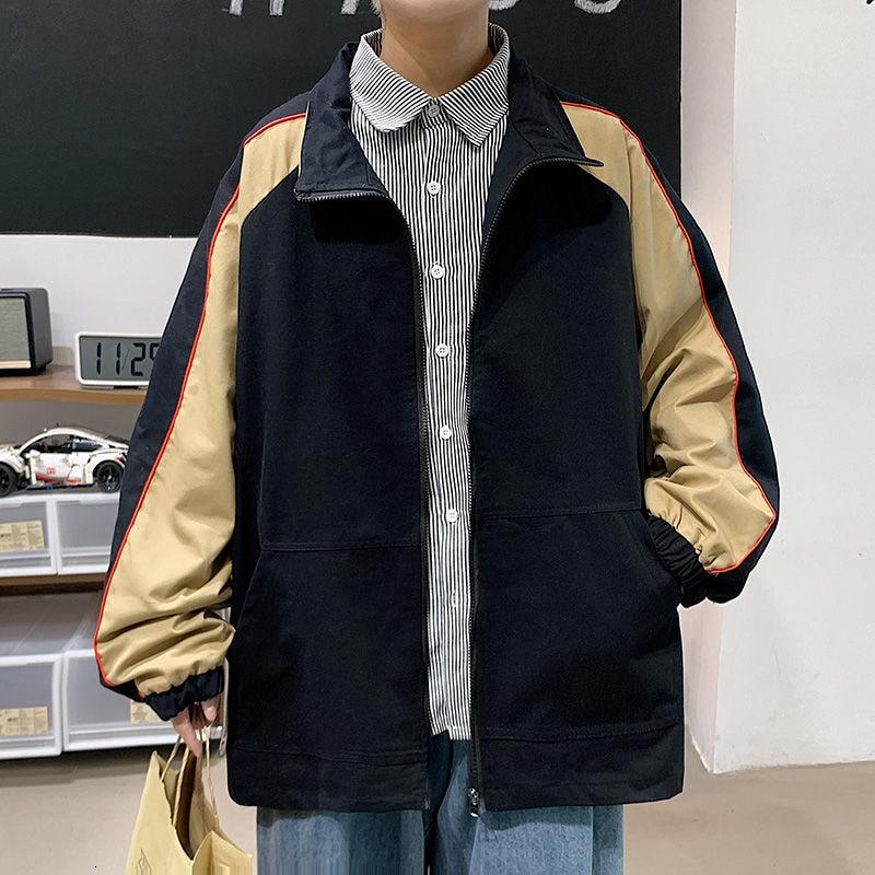 Куртка с капюшоном из чистого хлопка, Мужская Корейская повседневная куртка, Мужская модная свободная контрастная куртка, Мужская Уличная ...