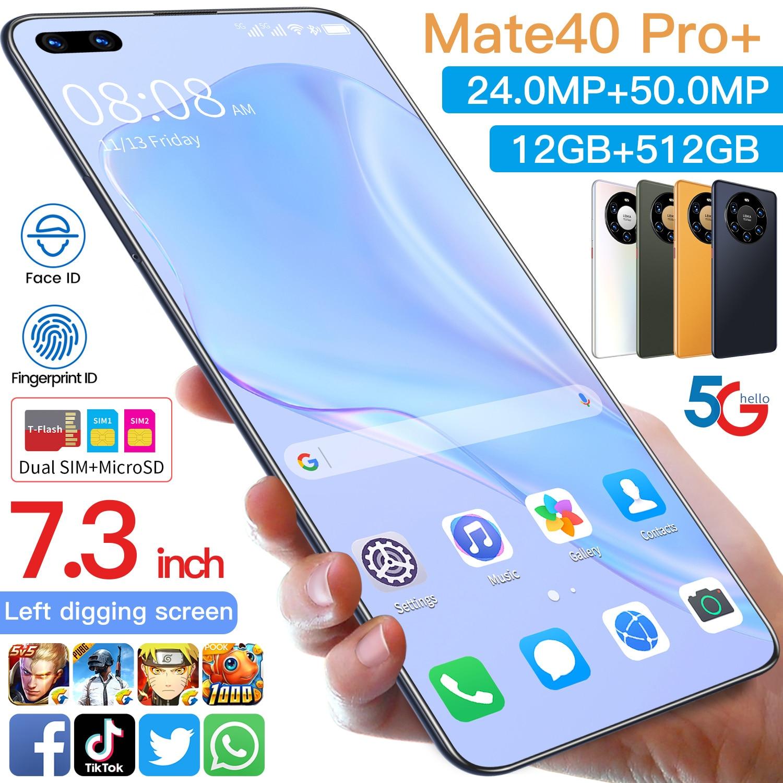 2021 Huawe Mate40 برو أنف العجل 888 الذكي 12G 512G عشاري النواة 7.3 بوصة كامل الشاشة بصمة إفتح 5G الهاتف المحمول
