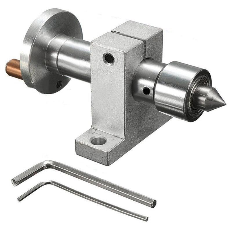 SHGO HOT-New Centro giratorio de doble rodamiento ajustable DIY para Mini máquina de torno herramienta de carpintería