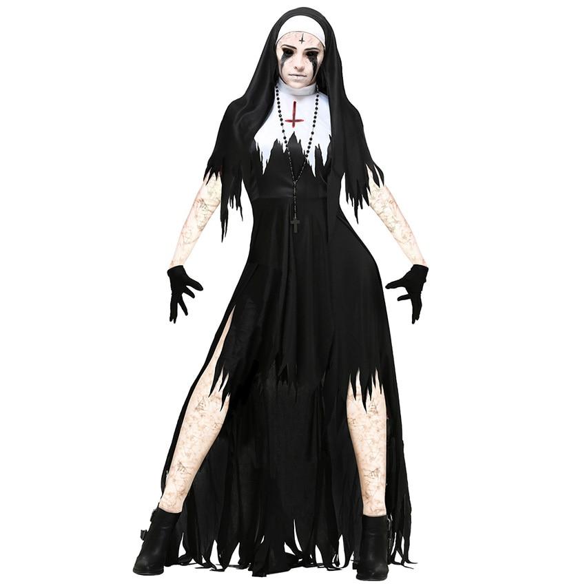 Disfraces de Halloween Horror monja Set de vampiro Fiesta de miedo Maxi Ghoust elegante terrible bruja religión de Día de Muertos Cosplay disfraces