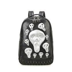 Jierotyx escola de couro de alta qualidade 3d crânio cabeça das mulheres sacos esqueleto falso couro sintético computador portátil estudante desconto