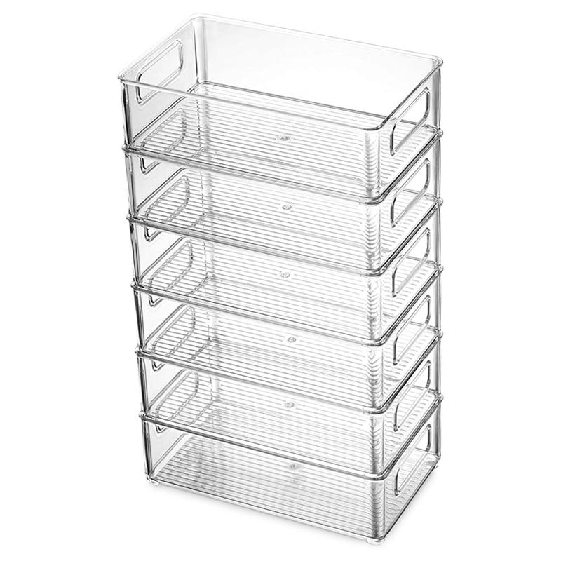 6Pcs Refrigerator Organizer Bins Stackable Fridge Organizers with Cutout Handles Clear Plastic Pantry Food Storage Rack