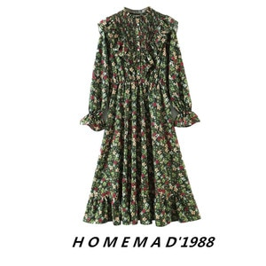 21 Early Spring New European And American Style Retro Floral Print Flounce Dress