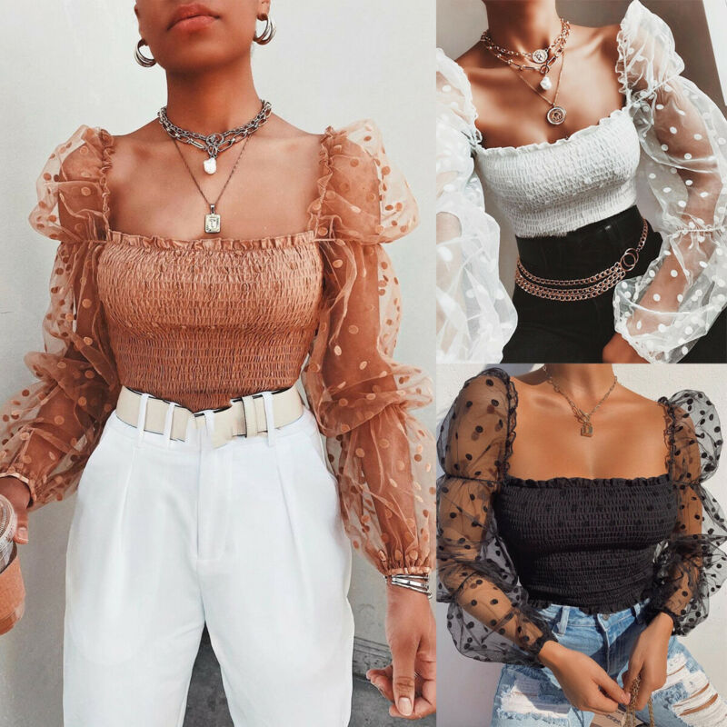 Women Blouse Autumn Spring Summer Ladies Dots Puff Sleeve Wrinkled Backless Shirt Mesh Sheer Wrap Chest Tops