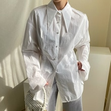 Korean Women Shirt Chic Early Autumn Pointed Collar Loose Color Pearl Long Sleeve Top