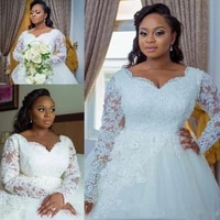 plus size ball gown wedding dresses 2021 long sleeve lace dress bridal bead appliques tulle bride formal gown