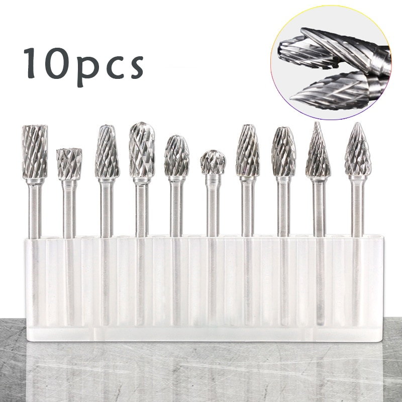 10pcs 1/8 Inch  Shank Tungsten Carbide Rotary Burrs Drill Bits for Metal Burr Double Diamond  Milling Cutter Mini Cone Drill Set