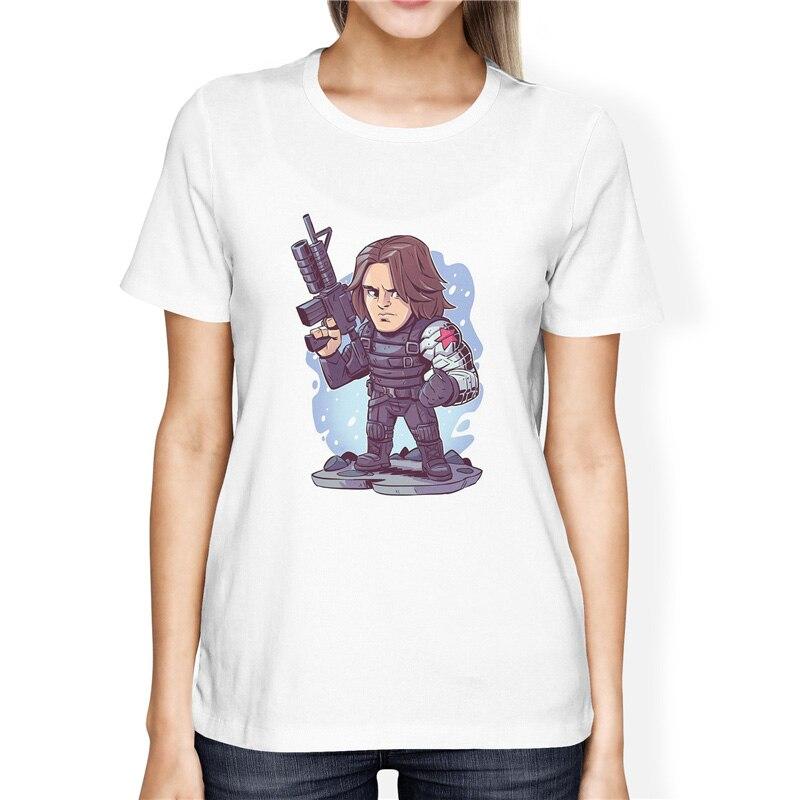 Camiseta de manga corta del Capitán América soldado Bucky Barnes para mujer superhéroe de dibujos animados de Marvel