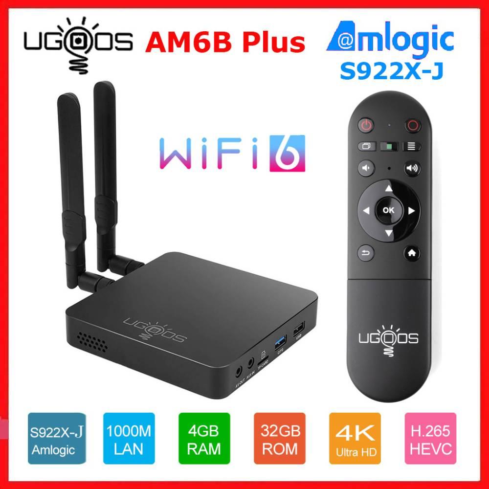 UGOOS AM6B زائد واي فاي 6 صندوق التلفزيون أندرويد 9.0 Amlogic S922X-J 2.2GHZ 4GB LPDDR4 32GB مربع التلفزيون الذكية AM6 Plus1000M مجموعة صندوق