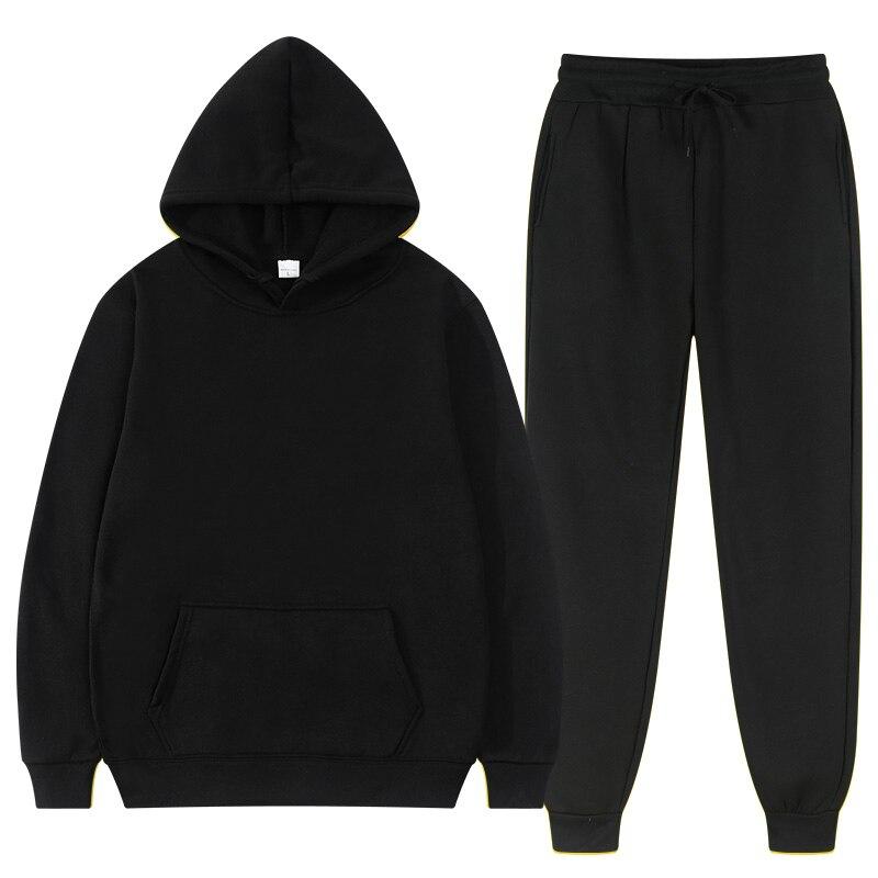 Winter Hoodie Sets Men Fashion Fleece Red Hoodies Black Brand Pants Casual Jogger Suit Tracksuit Sweatshirt Woman Pullover