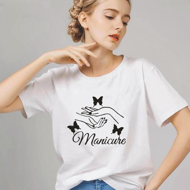 Camiseta de manga corta para Mujer, Camiseta de salón de belleza a la moda, Tops Harajuku informales Hipster, Camiseta para Mujer