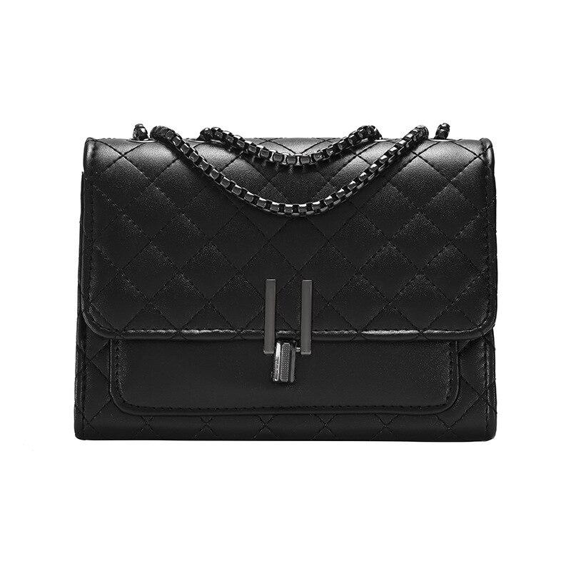 المرأة حقيبة واحدة الكتف حقيبة صغيرة الكورية 2021 نسيج جديد المعين سلسلة حقيبة ساعي صافي أحمر صغير أسود حقيبة المد