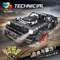 hhxy in stock 23009 3168pcs ford mustang hoonicorn rtr v2 racing car moc 22970 building block bricks kids toy gift