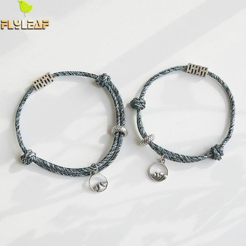 925 prata esterlina juramento de amor casal pulseira estilo chinês vintage mão tecido corda fina jóias flyleaf