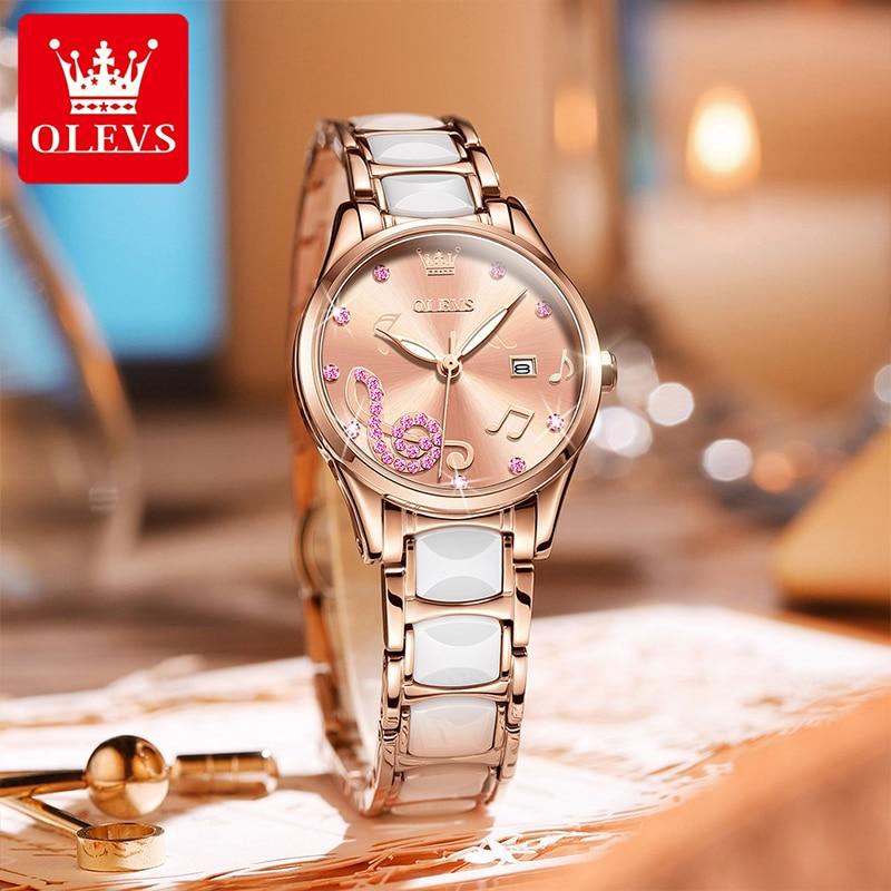 OLEVS New Fashion Casual Diamond Rose Gold Quartz Watch Ceramic Steel Band Waterproof Luminous Ladies Watches Female 3605 enlarge