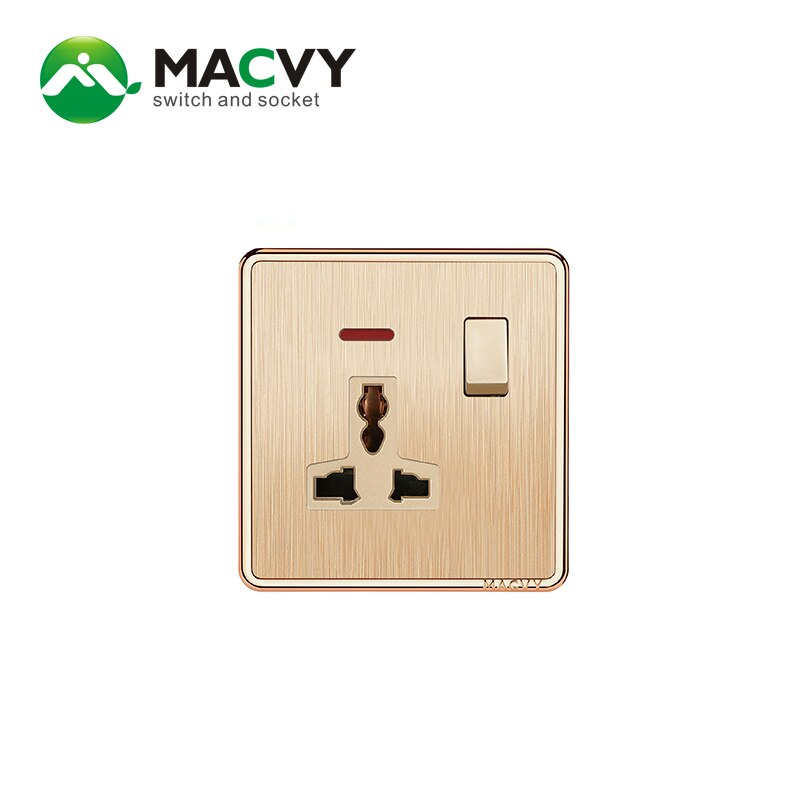 Interruptor MACVY 1gang y 3 pines 13A universal con interruptores de pared indicadores y enchufe UK