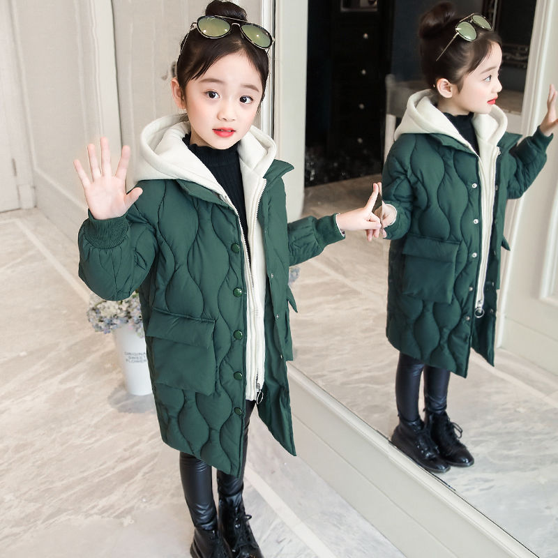 2019 abrigo de algodón para niñas abrigo de invierno nueva Chaqueta de algodón gruesa de sección larga para niños en algodón grande para niños ropa