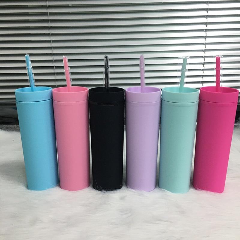 زجاجة مياه أكريليك محمولة بجدار مزدوج ، 16 أونصة ، ألوان حلوى ، مع غطاء وشفاط ، لهدايا الحفلات