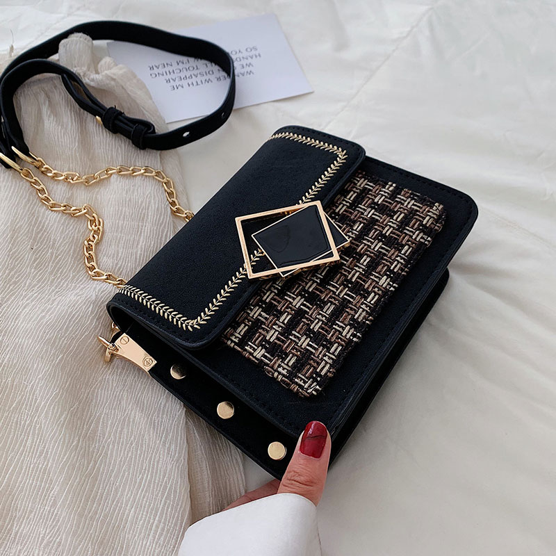 Scrub Leather Weave Crossbody Bags For Women 2020 Fall Chain Shoulder Messenger Bag Female Chain Luxury Handbags and Purses