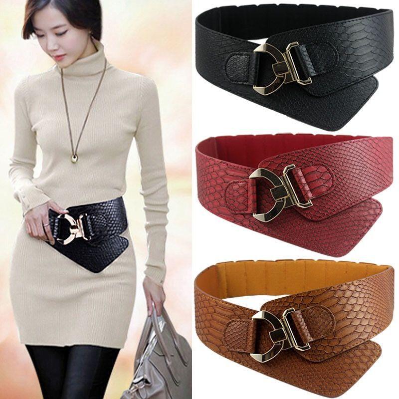 Новый Модный женский пуховик со змеиным крючком, украшение на талию, эластичный пояс, широкий черный пояс